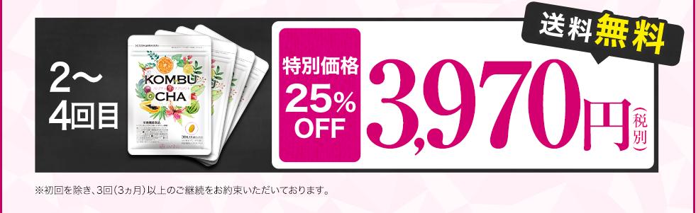 2回目~4回目 特別価格の25%OFF 3,970円(税抜) 送料無料