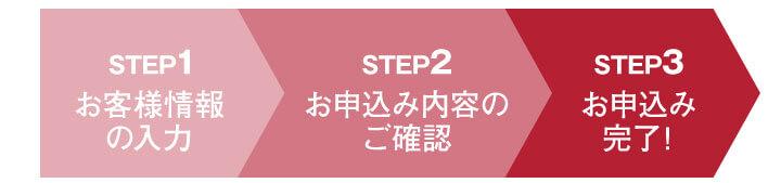 STEP1お客様の情報入力、STEP2お申込み内容のご確認STEP3お申込み完了!