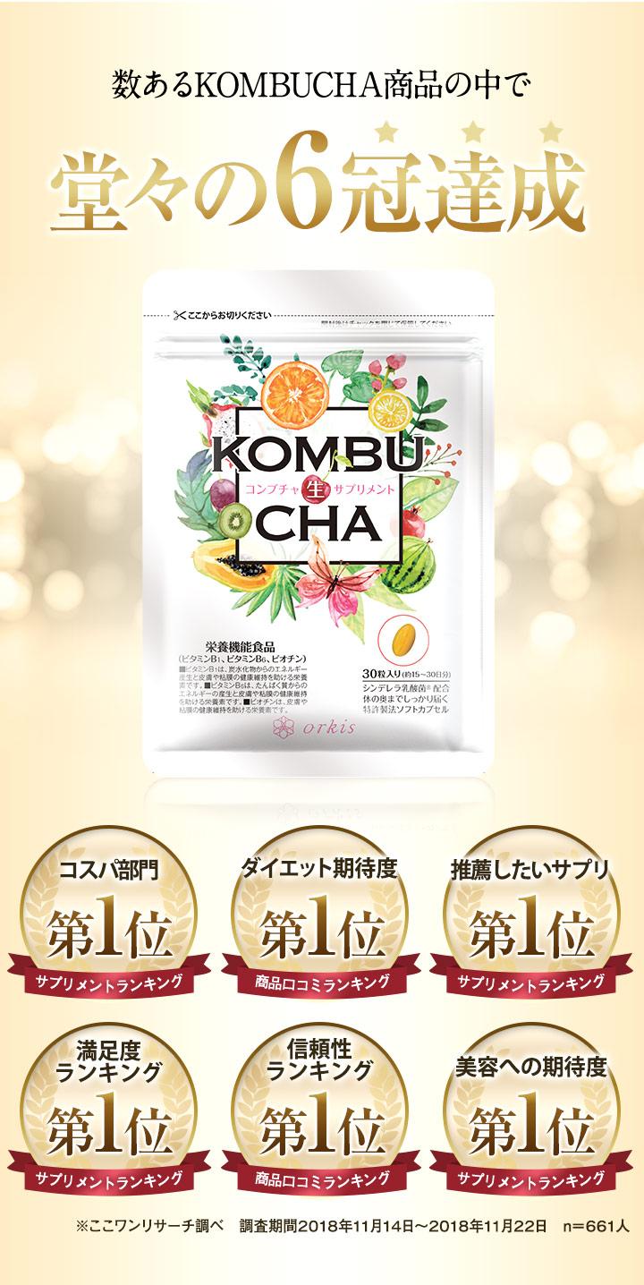 数あるKOMBUCHA商品の中で堂々の6冠達成